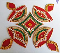 BDS CREATIONS 078 Red Designer Handcrafted Decorative Diwali Rearrangable Kundan Rangoli for Floor Decoration Set of 5pcs