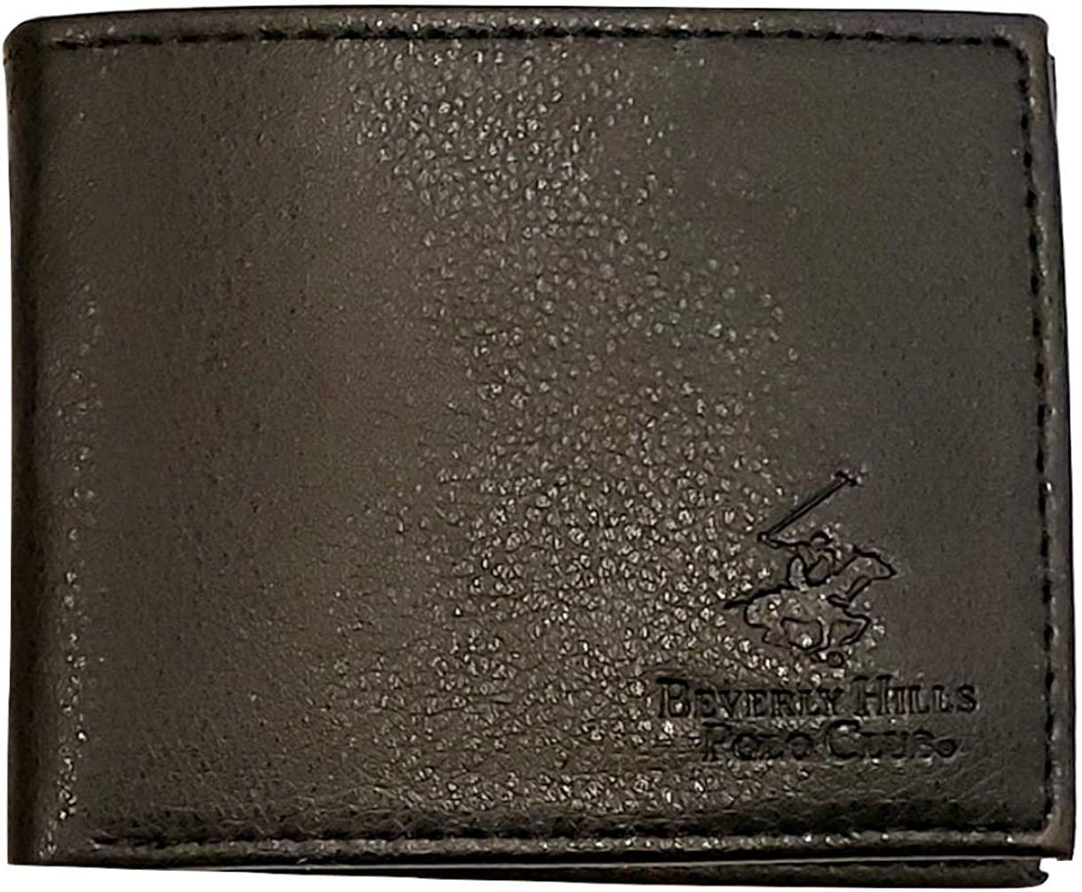 Beverly Hills Polo Club Men's Embossed Genuine Leather Black Wallets - Gift Boxed Bi-Fold and Tri-Fold Black Leather Wallets