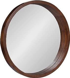 Kate and Laurel Hutton Round Decorative Modern Wood Frame Wall Mirror, 22 Inch Diameter, Walnut Finish