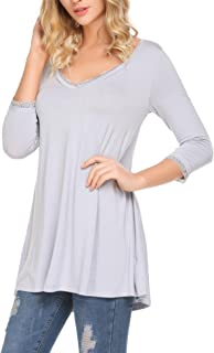 Halffle Women's Swing Tunic Tops 3/4 Sleeve Lace V Neck Loose T-Shirt Dress