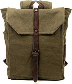 Travel Log Nova Backpack Genuine Canvas and Leather Bag (Army Green)