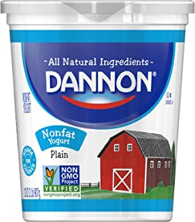 Dannon All Natural Nonfat Yogurt Plain 32 oz Nonfat Plain Yogurt, Great for Use in Recipes, Substitute for Sour Cream, Mayonnaise or Whipped Cream