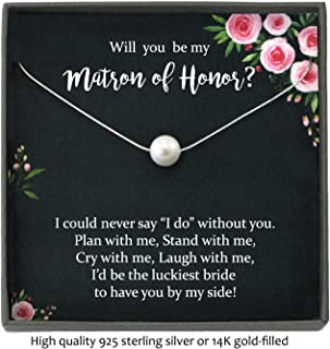 Matron of Honor Proposal Gift Necklace with Meaningful Message, Floating Pearl