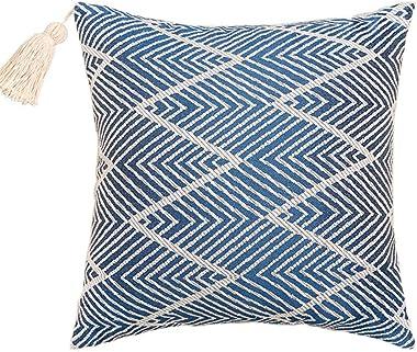 XIAKE Lot de 2 housses de coussin décoratives carrées pour canapé, chambre à coucher - 40 x 40 cm - Bleu marine
