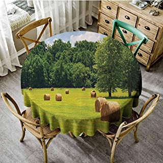 Camping picnic round tablecloth Farmhouse Decor Collection,Farmland after Harvest Peaceful Terrain Remote Rural Country Plantation Seasonal Image,Green Table decoration Tablecloth diameter 50 inch