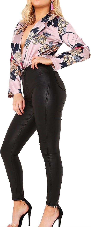 Rimi Hanger Womens Satin Floral Print Long Sleeve Bodysuit Ladies Collard V Neck Leotard Top Small/Large