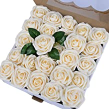 Breeze Talk Artificial Flowers Cream Roses 50pcs Realistic Fake Roses w/Stem for DIY Wedding Bouquets Centerpieces Arrangements Party Baby Shower Home Decorations (50pcs Cream)