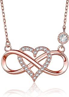Women 925 Sterling Silver Cubic Zirconia Infinity Heart Pendant Necklace 18 inch