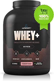 Legion Whey+ Strawberry Banana Whey Isolate Protein Powder from Grass Fed Cows, 5lb. Low Carb, Low Calorie, Non-GMO, Lactose Free, Gluten Free, Sugar Free. Great for Weight Loss & Bodybuilding.