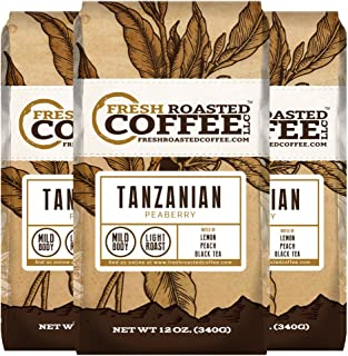 Tanzanian Peaberry Coffee, 12 oz. Ground Bags, Fresh Roasted Coffee LLC. (3 Pack - Ground)