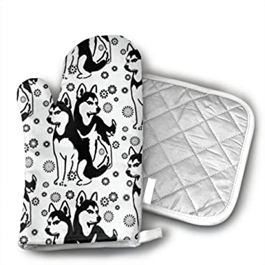 Christmas Siberian Husky with Snowflakes Oven Mitt Pot Holder Set Kitchen Quilted Cotton Polyester LiningOven Mitt with