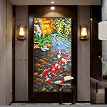 SANSNMI Wall Art Painting Abstract Nine Koi Fish Landscape Handmade Oil Painting For Living Room Modern Decor Canvas Artwo...