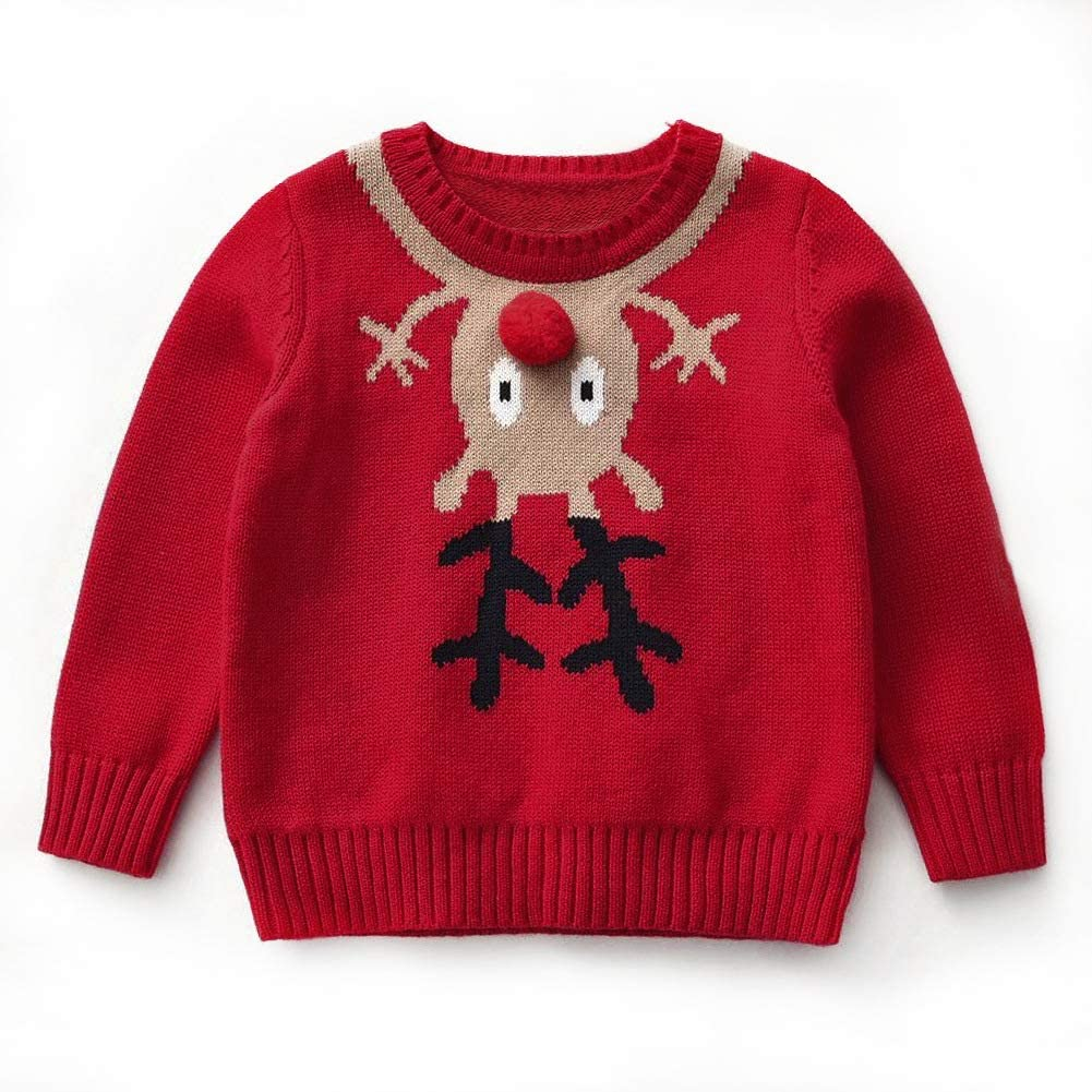 Curipeer Boy's Girl's Cable Knitted Crew Neck Sweater Fall Pullover 1-8Y