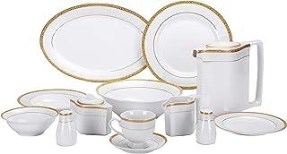Royalford 47Pcs Ovation Fine Bone Round Dinner Set - Portable Design Plates, Bowl, Pot, Cups & Saucer   Comfortable Handli...