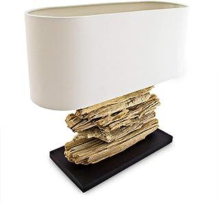 Relaxdays Lampe de table ROBINSON HBT: 49,5 x 55 x 20 cm corps en bouts de bois abat-jour tissu, couleur naturelle
