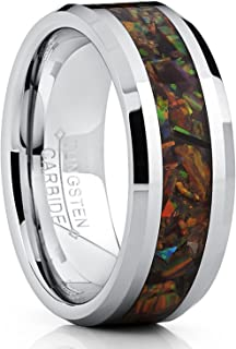 8MM Tungsten Carbide Wedding Band Ring with Fire Red Simulated Opal Inlay 8MM