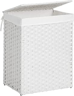 SONGMICS Handwoven Laundry Basket, Synthetic Rattan Clothes Hamper with Lid and Handles, Foldable, Removable Liner Bag, White ULCB51WT