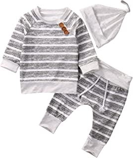 Newborn Baby Boys Girls Hooded Sweatshirt T-Shirt Tops+Striped Pants Kids Outfits Clothes Set