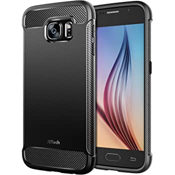 JETech Case for Samsung Galaxy S6 (NOT for S6 Edge), Protective Cover with Shock-Absorption and Carbon Fiber Design, Black