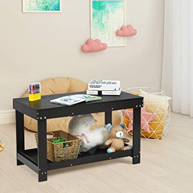 Costzon 2 in 1 Kids Activity Table w/Storage, Building Block Table w/Board for Bricks Crafts Arts Draw, Children Solid Wood P