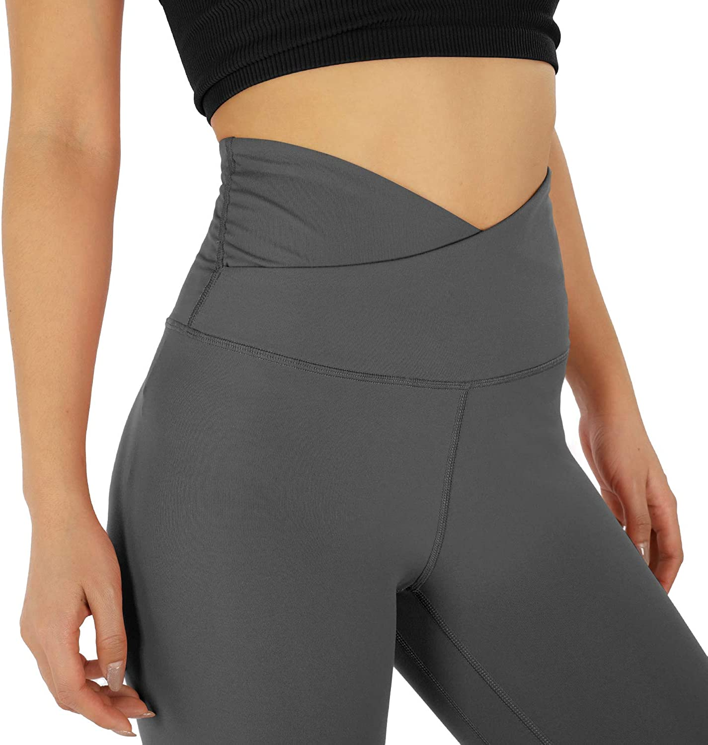 Inseam 25 ODODOS Womens Cross Waist 7//8 Yoga Leggings with Inner Pocket Workout Running Tights Yoga Pants
