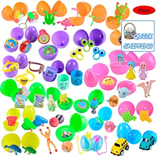 Kissdream 62 Packs Pre Filled Easter Eggs with Novelty Toys and Stickers, 62 Bright Colorful Easter Eggs for Easter Basket Stuffers, Easter Party Favors, Easter Egg Hunt