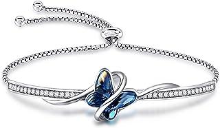 GEORGE · SMITH Bracciale in argento da donna, regolabile, Bracciale a farfalla con 5A Cubic Zirconia - Bracciale regalo pe...