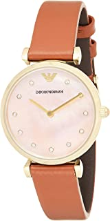 Emporio Armani Women'S Pink Mother Of Pearl Dial Leather Band Watch - Ar1960, Brown,