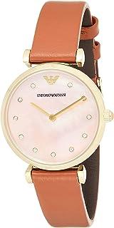 ساعة امبوريو ارماني للنساء بمينا لؤلؤي وسوار جلدي - Ar1960، بني