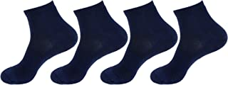 BambooMN Women's Bamboo Athletic Quarter Crew Sock for Home Travel Work and Sport - Small/Medium - Navy - 4 Pairs