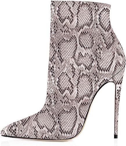 Elashe Bottes Classiques Femme   12cm Bottine à Talon Haut   Zip Stiletto Talons Hauts Ankle bottes Chaussures