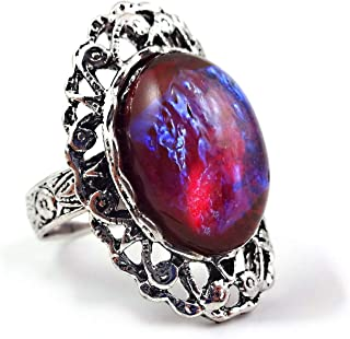 Little Gem Girl Czech Glass Mexican Opal Dragons Breath Ring Red Blue Fire Amulet Adjustable Silver