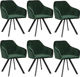 EUGAD Sillas Comedor Vintage Diseño Nórdico Juego de 6 Silla de Cocina Tapizada con Patas Metálicas Asiento de Terciopelo Verde