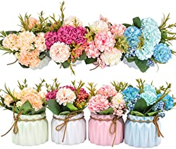 Artificial Flower Plants – Mini Fake Hydrangea Flowers in Pot for Home Decor Party Wedding Office Patio Table Desk Decorat...
