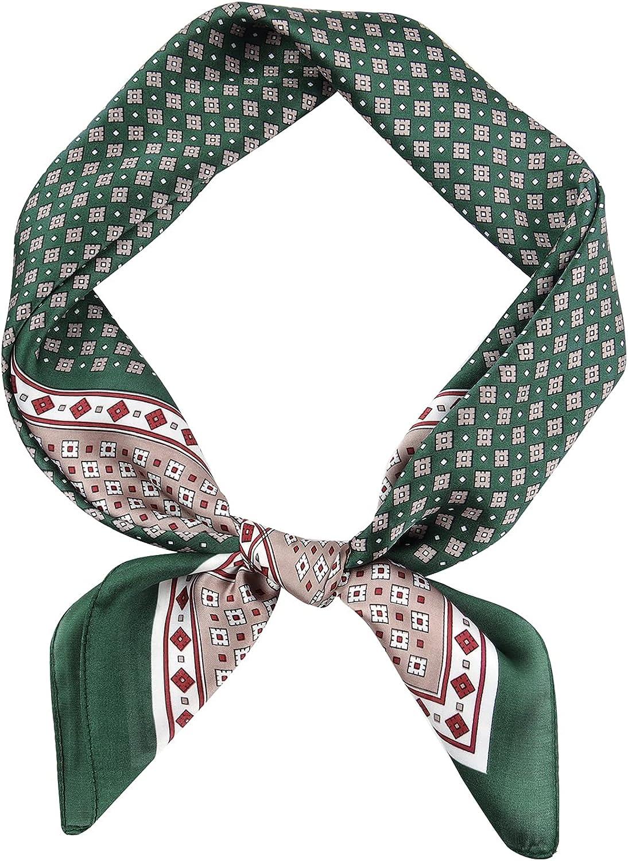 GERINLY Vintage Silk Square Scarf for Men Satin Bandana Tiny Medallion Print Neckerchief Geometry Head Scarf