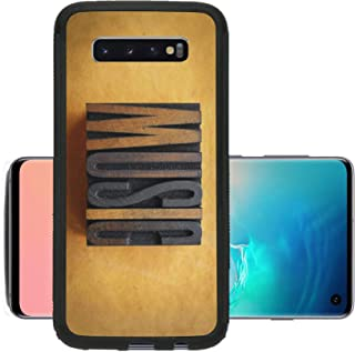 Liili Phone Case Designed for Galaxy S10 Case Aluminum Backplate Bumper Snap Case The Word Music Written in Vintage Letterpress Type Image ID 23066331
