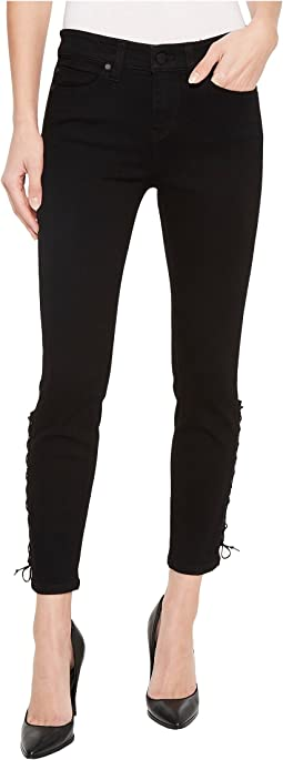 Alyssa Crop with Side Ankle Lace-Up in Stretch Denim in Black Rinse