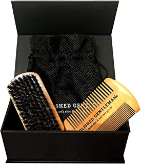 Beard Brush and Comb Set for Men - Natural Boar Bristle Brush and Durable Wooden Comb Grooming Kit - Maintains Soft, Shiny and Smooth Facial Hair - Mustache Straightening and Shaping Tools