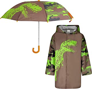Kids Umbrella and Raincoat Set for Boys and Girls Ages 3-7