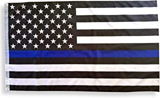 Thin Blue Line American Flag 3x5 with Brass Grommets, Double Stitched Thin Blue Line Flag, Police Flag, Law Enforcement Flag, Police Support Flag, Back The Blue Flag, Blue Thin Line Flag