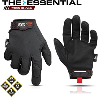 Glove Station The Essential Series Tactical Black Covert Gloves For Mechanic Utility Work - Improved Dexterity, Lightweight & Breathable Mesh, Medium Size, 1 Pair