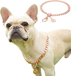 JYHY Stainless Steel P Chock Metal Chain Dog Necklace Collars Walking Training Pet Supplies for Small Medium Large Dogs