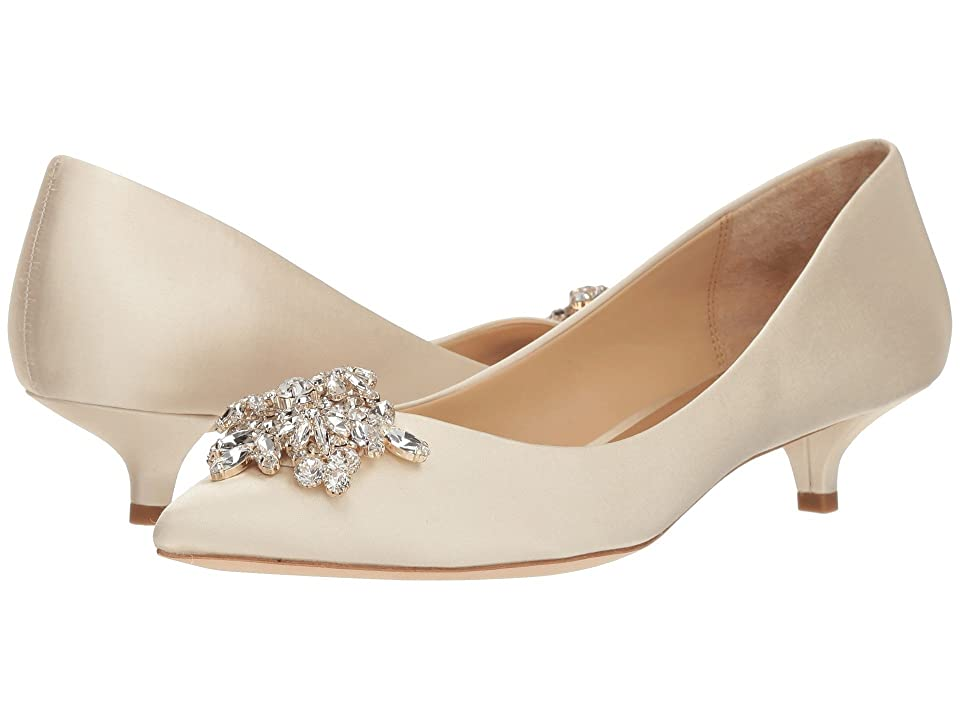 History of Victorian Boots & Shoes for Women Badgley Mischka Vail Ivory Satin High Heels $215.00 AT vintagedancer.com