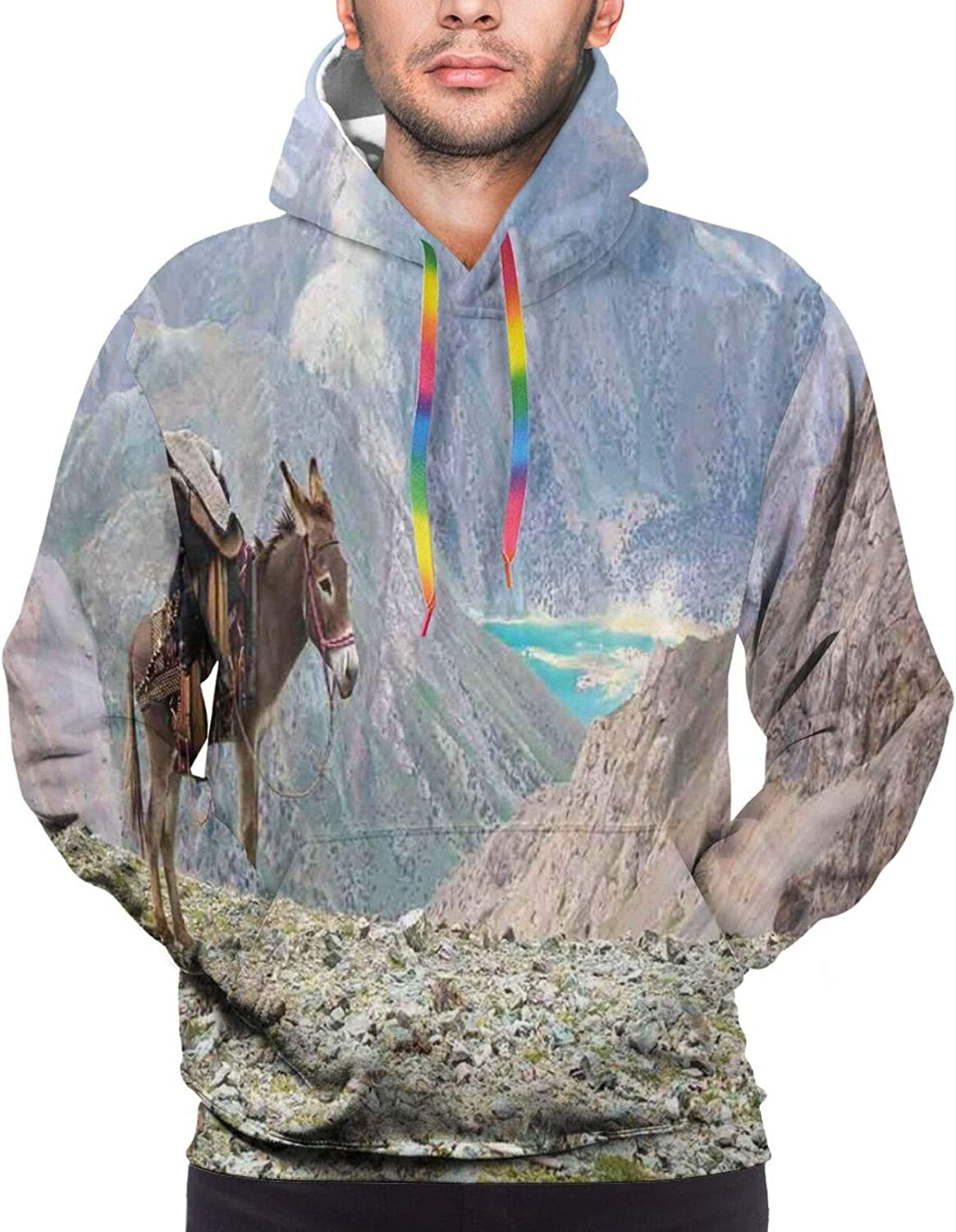Men's Hoodies Sweatshirts,Animal with Spikes Listening Music from Its Retro Cassette Player Vintage Inspired