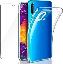 Leathlux Samsung Galaxy A50 Funda + Cristal Protector de Pantalla, Transparente TPU Silicona [Funda + Vidrio Templado] Ultra Fino Protector de Pantalla 9H Dureza HD Carcasas Samsung Galaxy A50