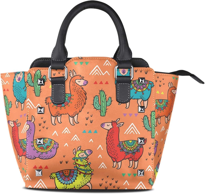 My Little Nest Women's Top Handle Satchel Handbag Cute Lama Pacos Ladies PU Leather Shoulder Bag Crossbody Bag