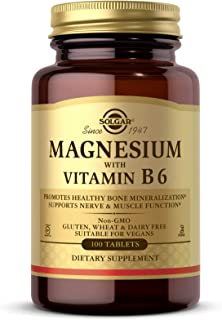 Solgar Magnesium with Vitamin B6, 100 Tablets - Promotes Healthy Bones, Supports Nerve & Muscle Function, Energy Metabolis...
