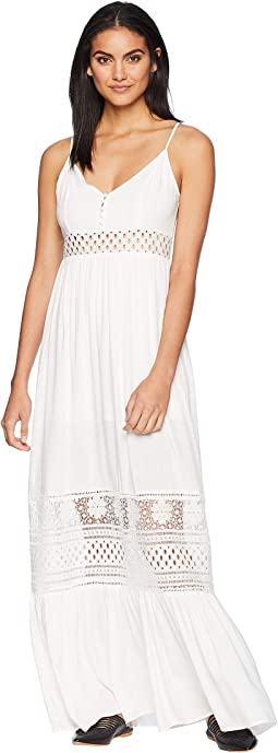 Kaia Midi Dress with Stripe Lace Insets