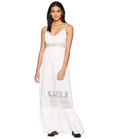 Jack by BB Dakota Kaia Midi Dress with Stripe Lace Insets (Off-White) Women