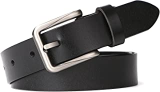 Western Design Leather Waist Belt for Women with Classic Polished Alloy Buckle Pants by WERFORU